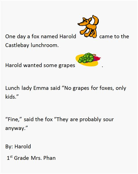 first grade narrative writing lesson fox and grapes k