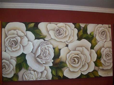 pintar rosas blancas al oleo en tela como de colores 2018 - Cuadros De Rosas Blancas