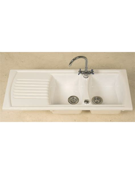 clearwater sonnet double bowl and drainer white ceramic thoms denby sonnet 2 0 kitchen sink double bowl white
