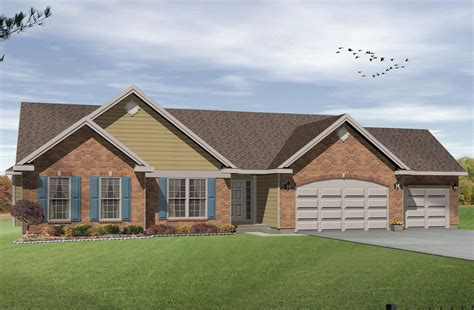 ranch floor plans with 3 car garage ranch living with three car garage 2293sl 1st floor