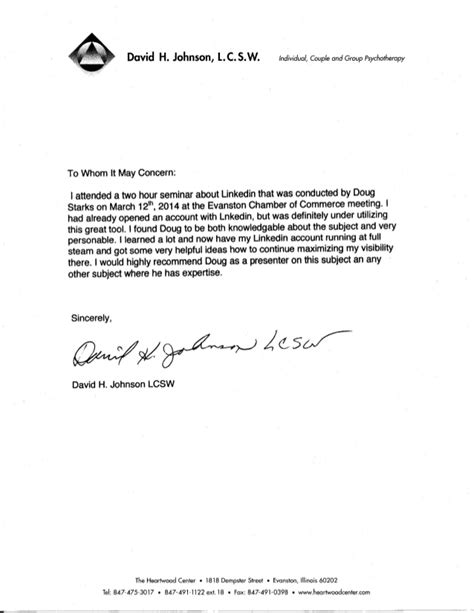 Recommendation Letter In What Capacity Reference Letter From David Johnson