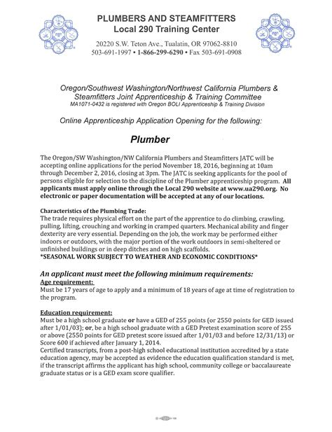 Apply For Plumbing Apprenticeships by Plumber Apprenticeship Ua Local 290