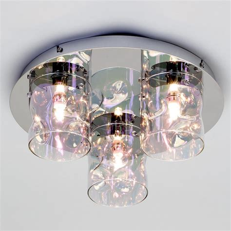 monet 3 light petroleum tinted glass flush ceiling light