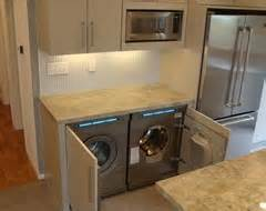 hiding washer and dryer in kitchen