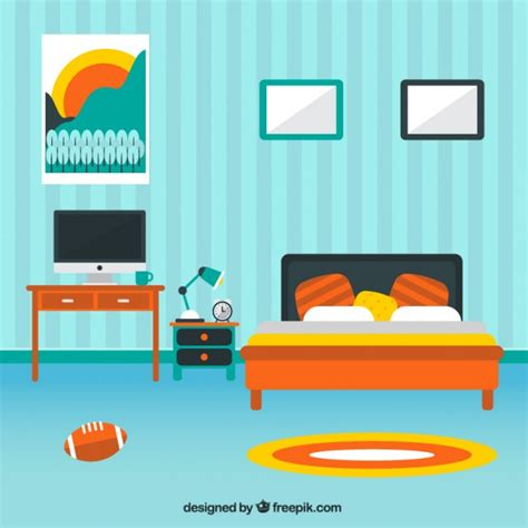 Bedroom Clipart Vector Modern Bedroom Decoration Vector Free
