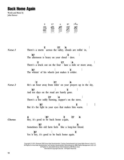 strumming pattern carry you home back home again sheet music by john denver ukulele with