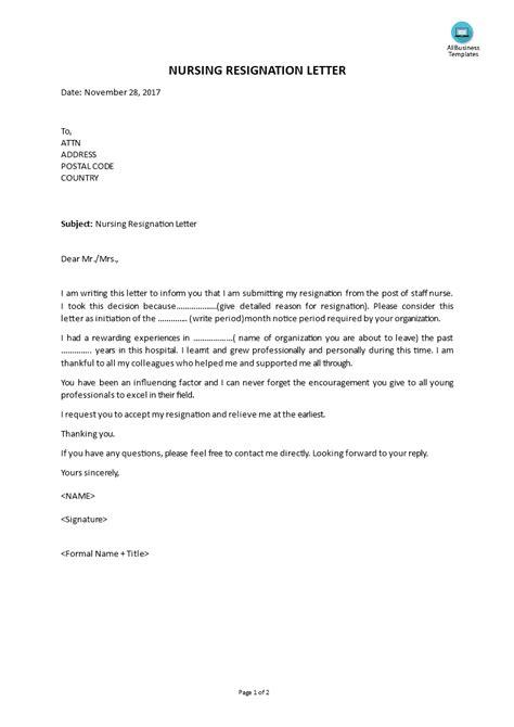 nursing resignation letter templates