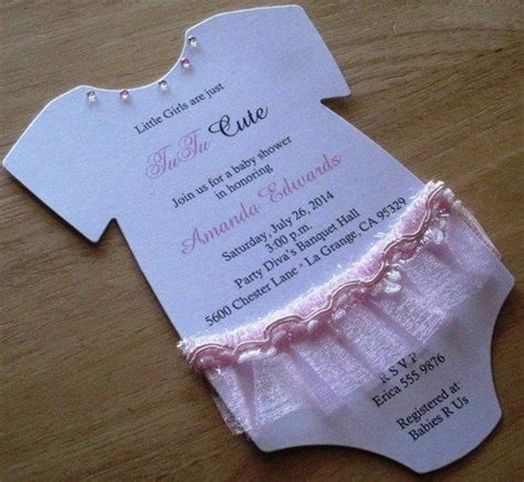 Diy Card Onesie With A Vest Card Template tutu baby onesie baby shower invitations white with pink