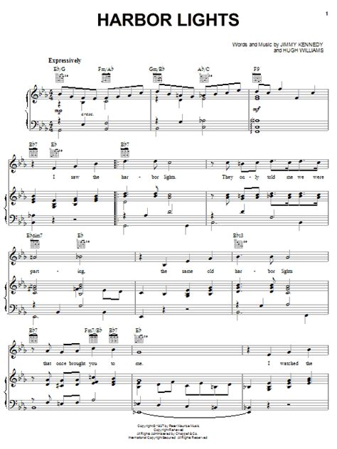 Harbour Lights Lyrics harbor lights sheet by willie nelson piano vocal