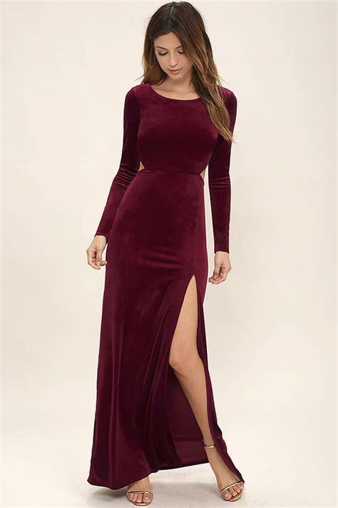 besame burgundy velvet long sleeve maxi dress velvet