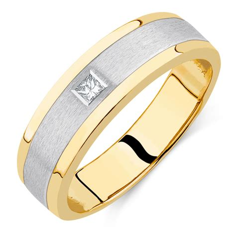 Mens Ring by S Set Ring In 10ct Yellow White Gold