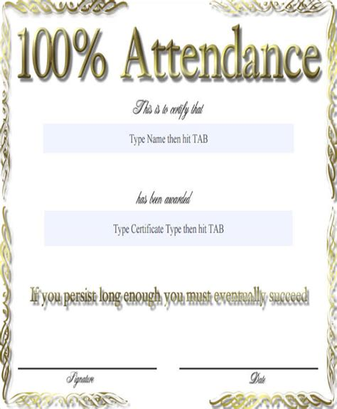 attendance award certificate templates 24 award certificates in word