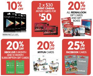 save on various gift cards at big w gift cards on sale