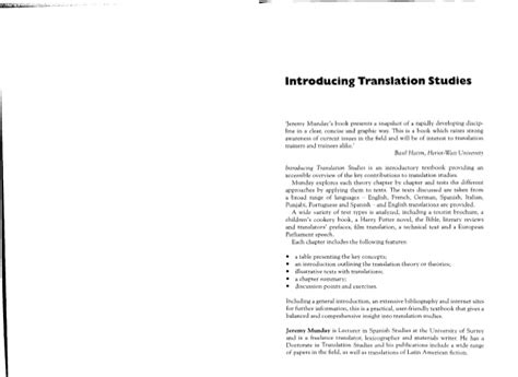Introducing Translation Studies Jeremy Munday Pdf