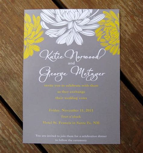 gray and yellow floral wedding invitation