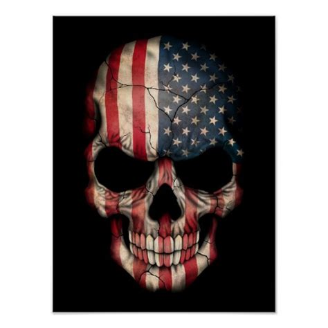 Home Decor Gift Catalogs by American Flag Skull On Black Print Zazzle