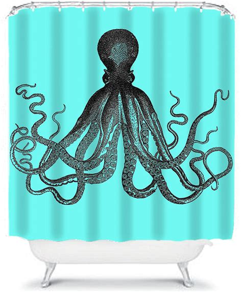 octopus shower curtain hooks blue shower curtain nautical octopus bathroom shower curtain