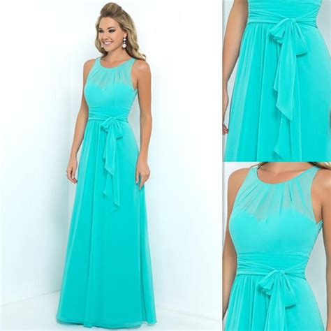 Turquoise Bridesmaid Dress by Turquoise Bridesmaids Dresses 2016 Chiffon Sheer A Line