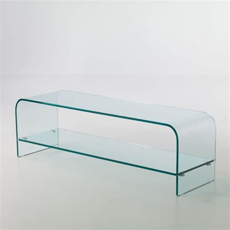 tavolino porta tv in vetro curvato 120 x 35 cm