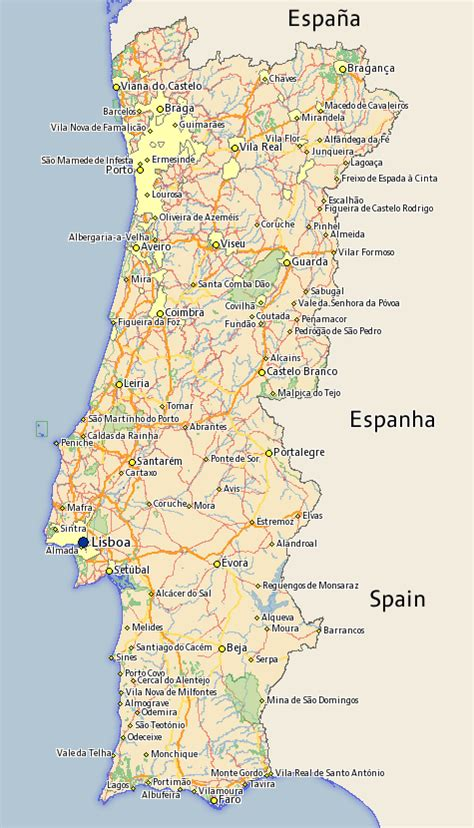printable portugal road map free portugal map maps of portugal