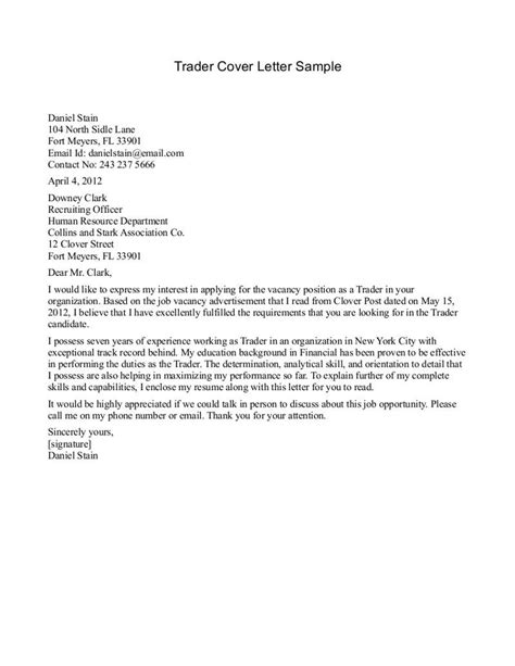 cover letter exles by cover letter sle for trader best cover letter sle