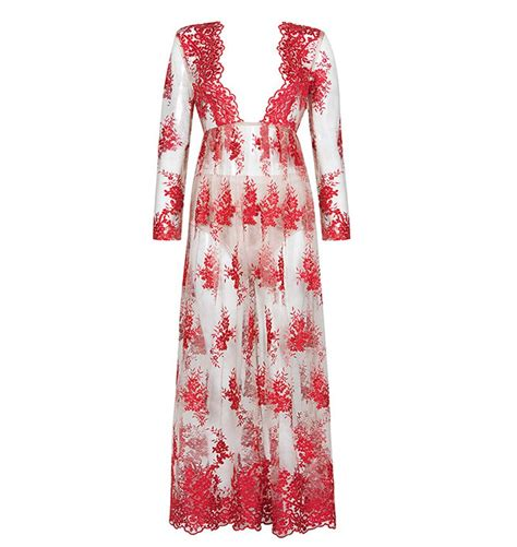 No 1 Embroidery Dress style no fl358 v neck sleeve embroidery floor length