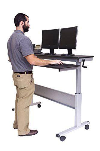 heavy duty standing desk 60 quot crank adjustable height sit to stand up desk with