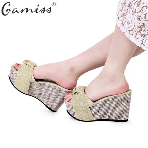 house shoes with heels popular wedge heel slippers buy cheap wedge heel slippers lots from china wedge heel