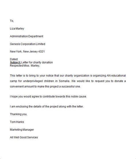 charity fundraising letter format donation request letter 8 free for word