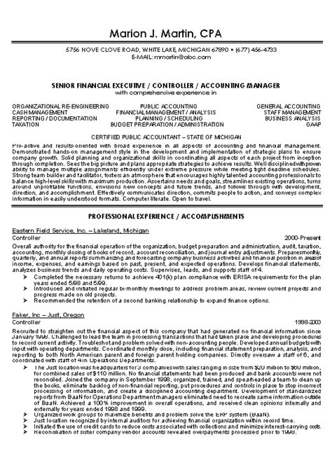 financial controller resume examples 1 - Sample Financial Controller Resume