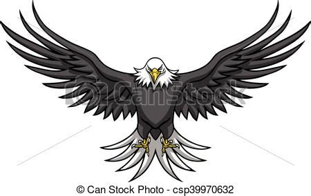 eagle mascot spread the wings vector illustration vectors