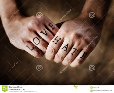 love and hate tattoos or royalty free stock images image 32907719