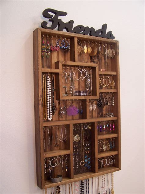 Handmade Jewelry Organizer - jewelry organizer earring holder handmade wood wall