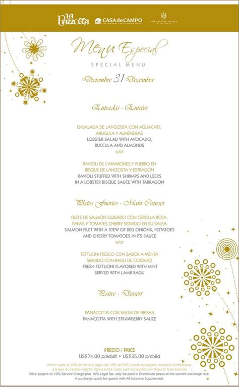 annisa new year menu new years 2011 special menus at la piazzetta la ca 241 a