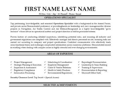 operations specialist resume template premium resume sles exle