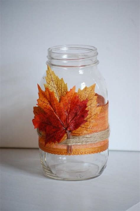 Autumn Twine Mason Jar, Fall Shabby Chic Home Decor