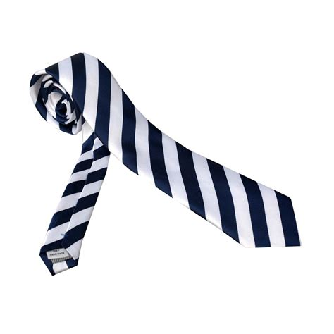 Corvus Navy corvus tie navy blue white stripes amedeo exclusive