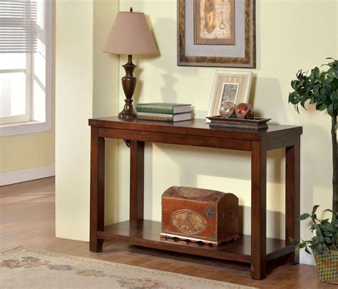 estell cherry sofa table from furniture of america