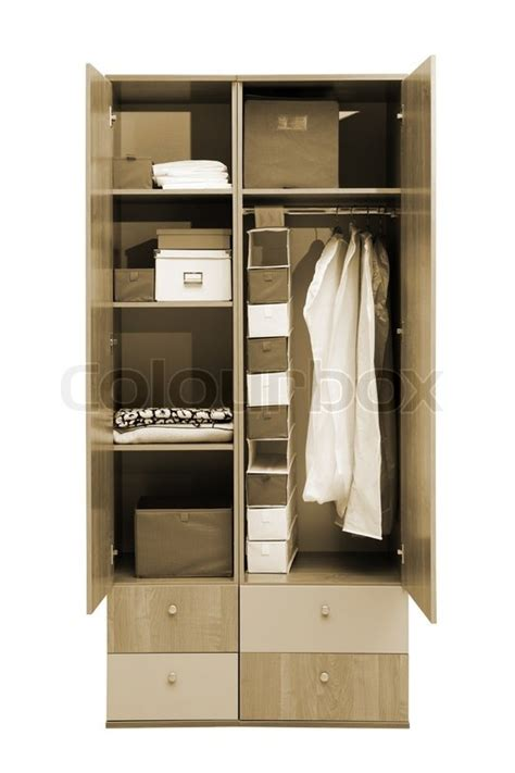 White Clothes Cupboard Modern Wardrobe With Clothes On A White Background Stock