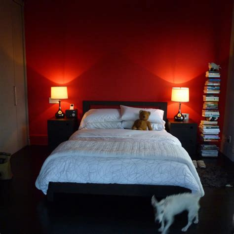 red wall bedroom foodie lifestyle blog