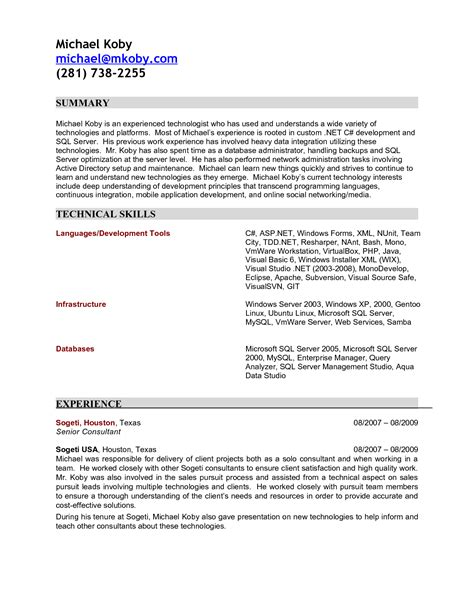 experience letter format for software engineer resume format for experienced software technical sales