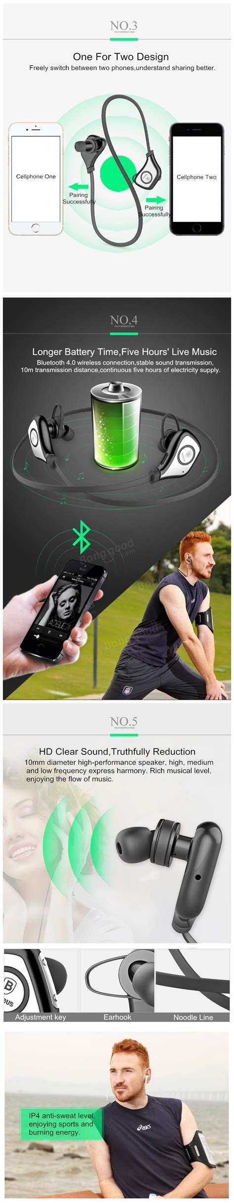 Baseus Musicbaseus Musice Series Sports Bluetooth Headphone In Ear Hd baseus sports series bluetooth stereo in