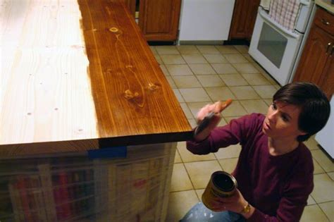 How To Waterproof Wood Countertops by How To Stain And Waterproof A Wood Countertop Home On
