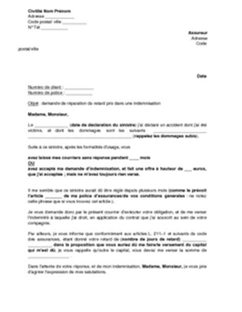 exemple gratuit de lettre demande int 233 r 234 ts indemnisation
