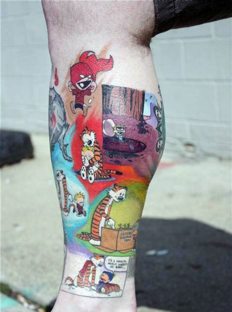 calvin and hobbes tattoo leg calvin and hobbes golfian
