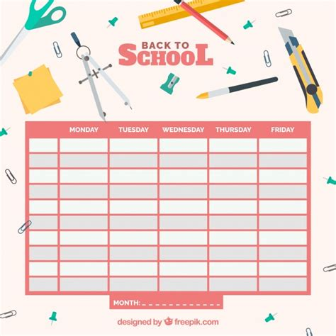 timetable template school timetable template vector free