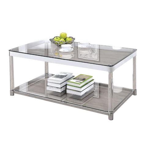 Coaster Glass Coffee Table Coaster Glass Top Coffee Table In Chrome 720748