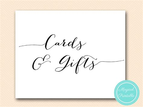 Cards Gifts Sign Template by Wedding Decoration Signs Magical Printable
