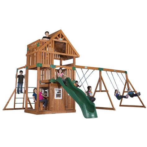 lowes outdoor swing sets shop backyard discovery wanderer all cedar wood playset