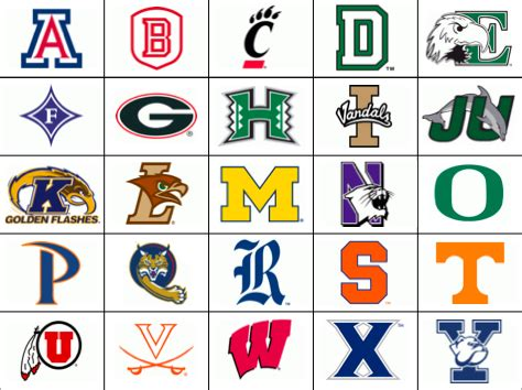 College Letter Logos College Logos A Z Quiz By Geoexpert